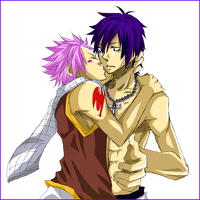 14149105113594-2boysfairy tailgray fullbusterkissingnatsu dragneelnecklacepink hairpurple hairscarftattoo